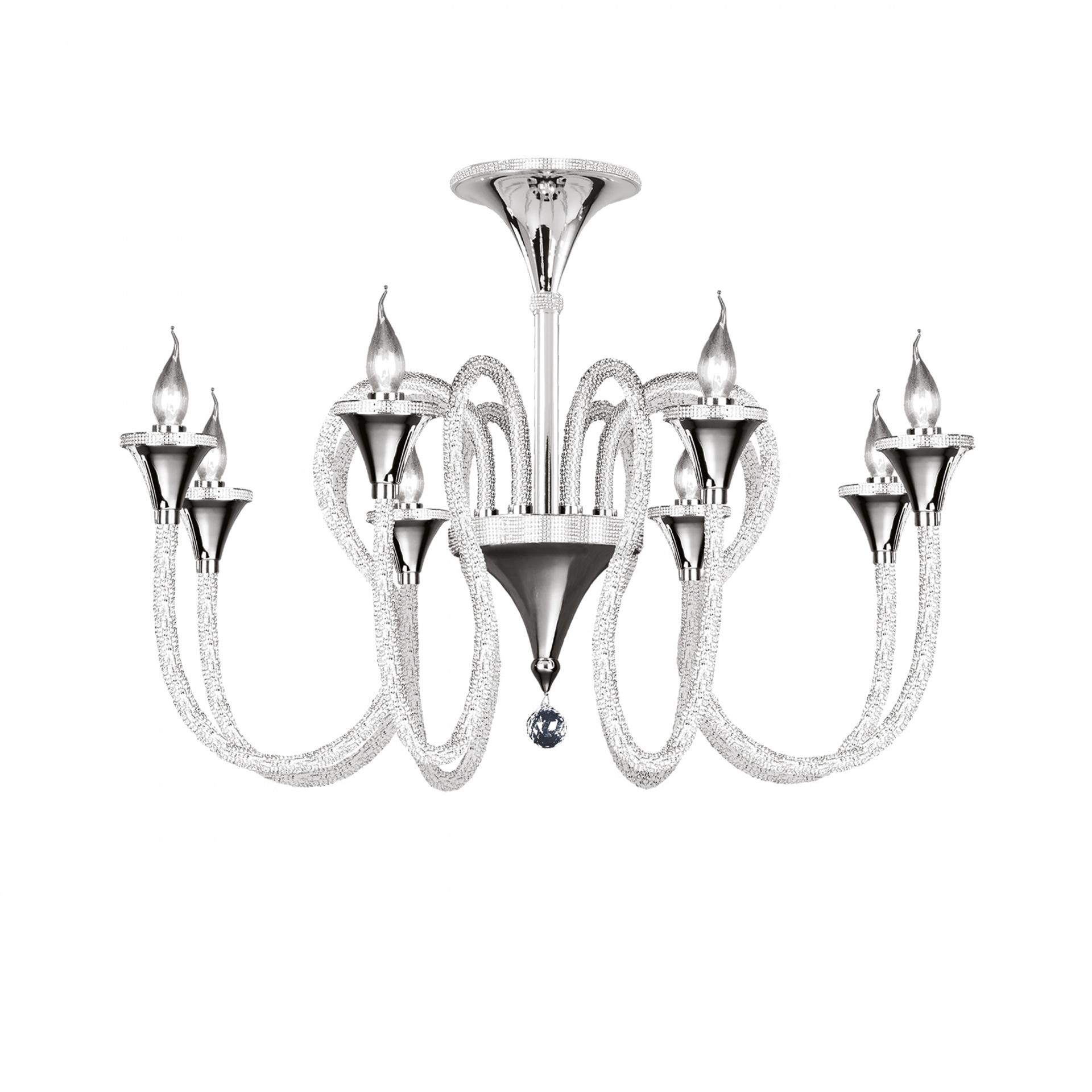 Люстра подвесная Serpente 8х60W E14 хром Osgona 703084, купить в СПб, Москве, с доставкой, Санкт-Петербург, интернет-магазин люстр и светильников Starlight, фото в жизни