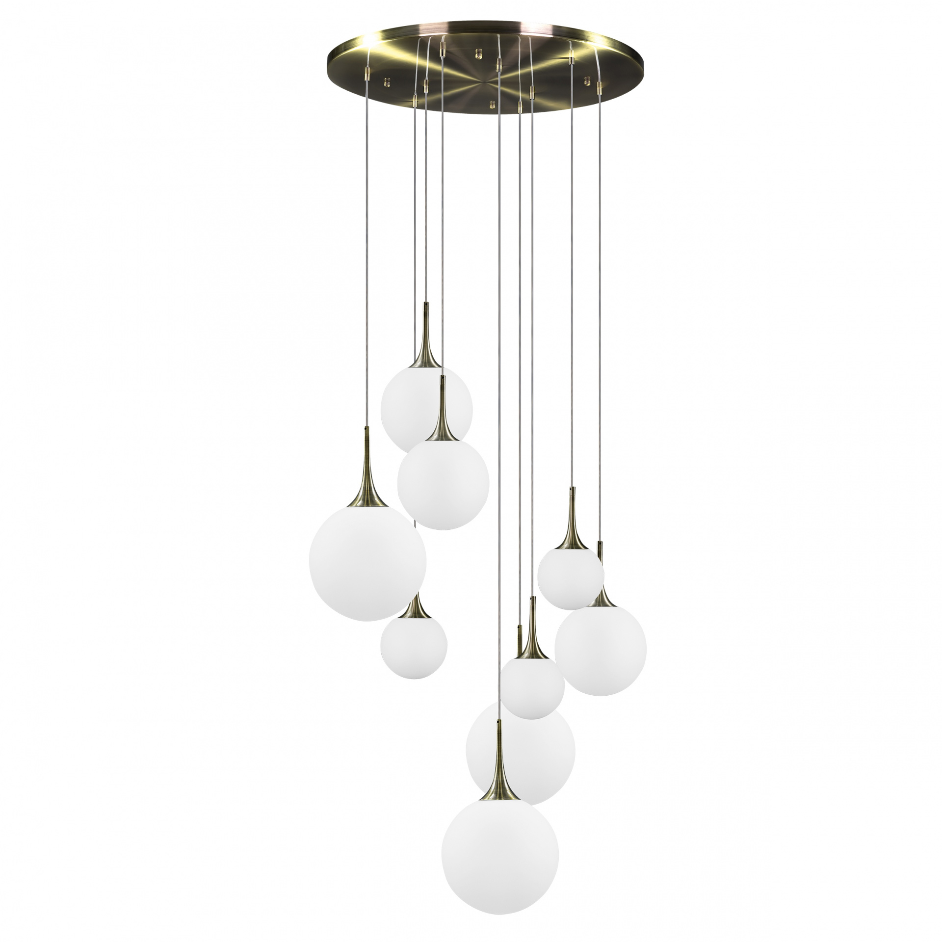 Подвес Globo 9х40W E14 electroplating bronze / white Lightstar 813091