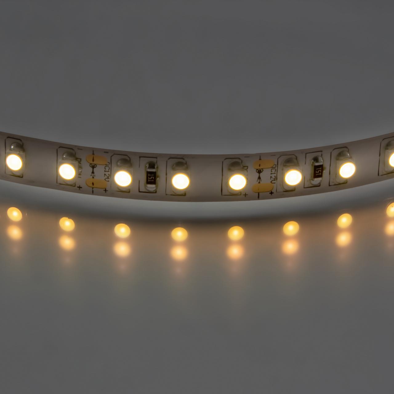 Лента 3528 LED 12V 9.6W IP20 2700K-3000K 200m теплый белый свет Lightstar 400012