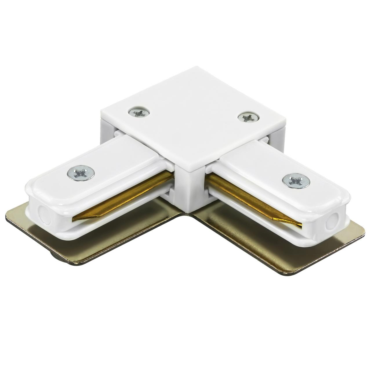 Соединитель трековый однофазный Barra L-образный белый Lightstar 502126