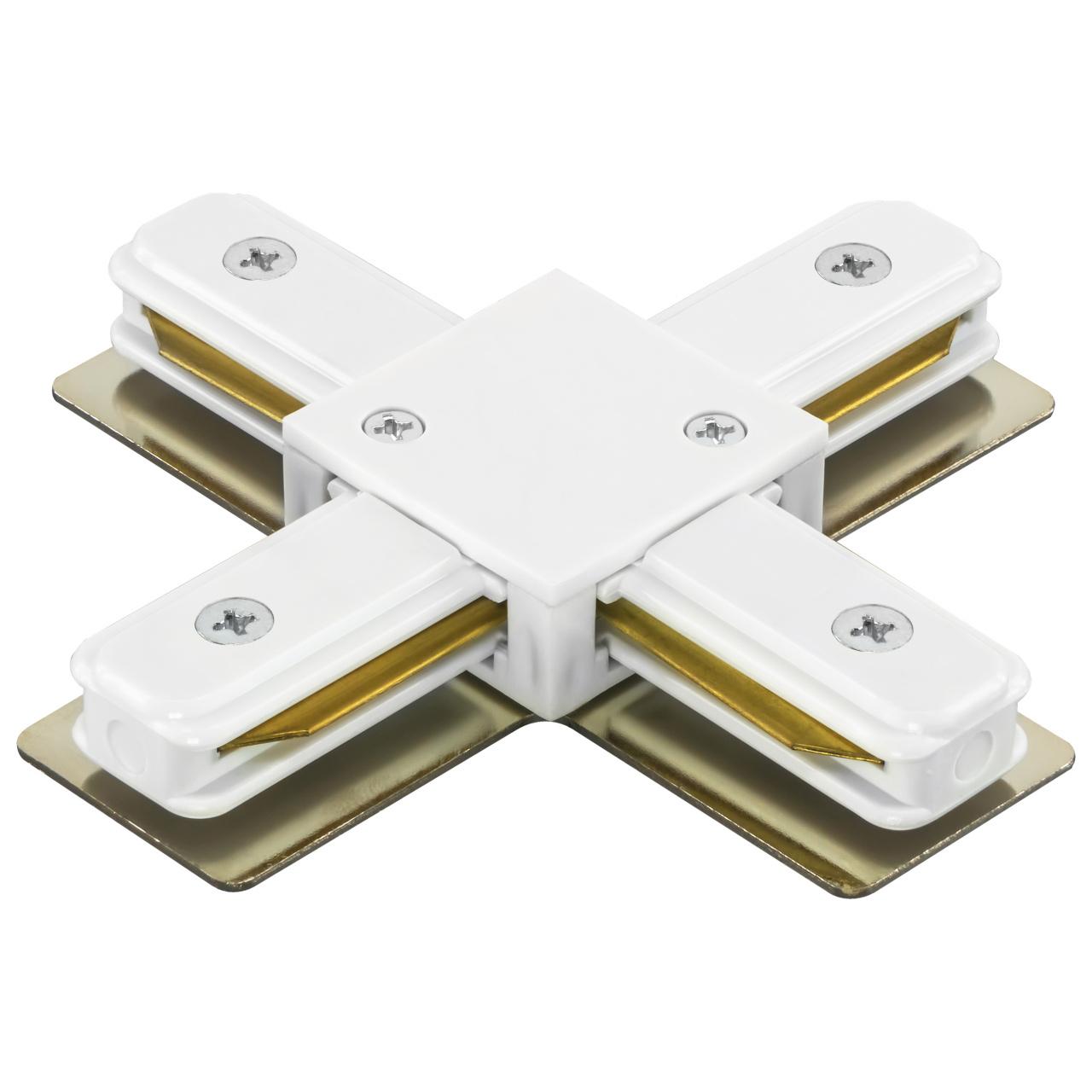 Соединитель трековый однофазный Barra X-образный белый Lightstar 502146