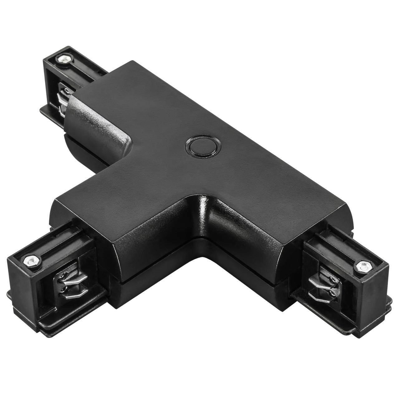 Соединитель трековый трехфазный Barra T-образный черный Lightstar 504137