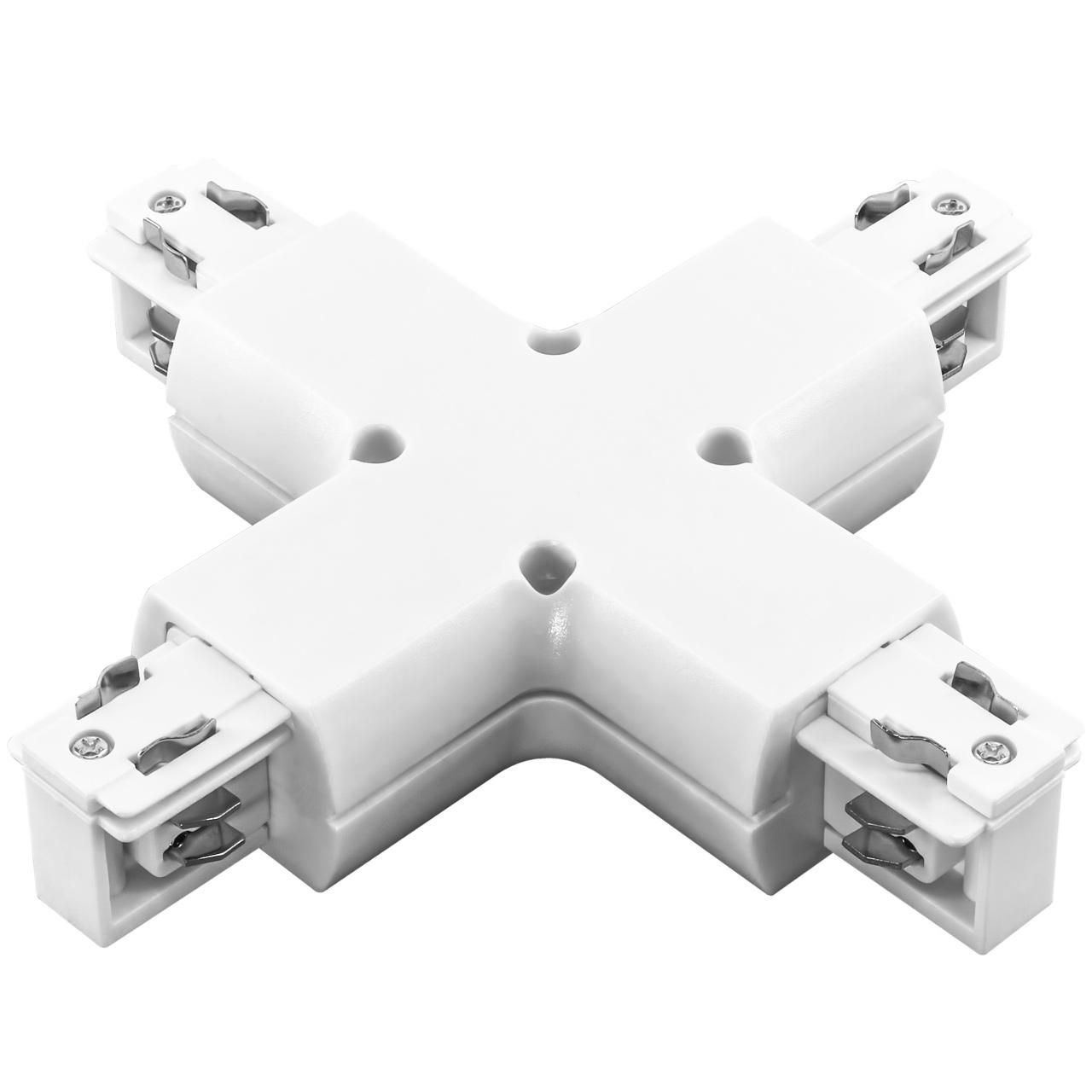 Соединитель трековый трехфазный Barra X-образный белый Lightstar 504146