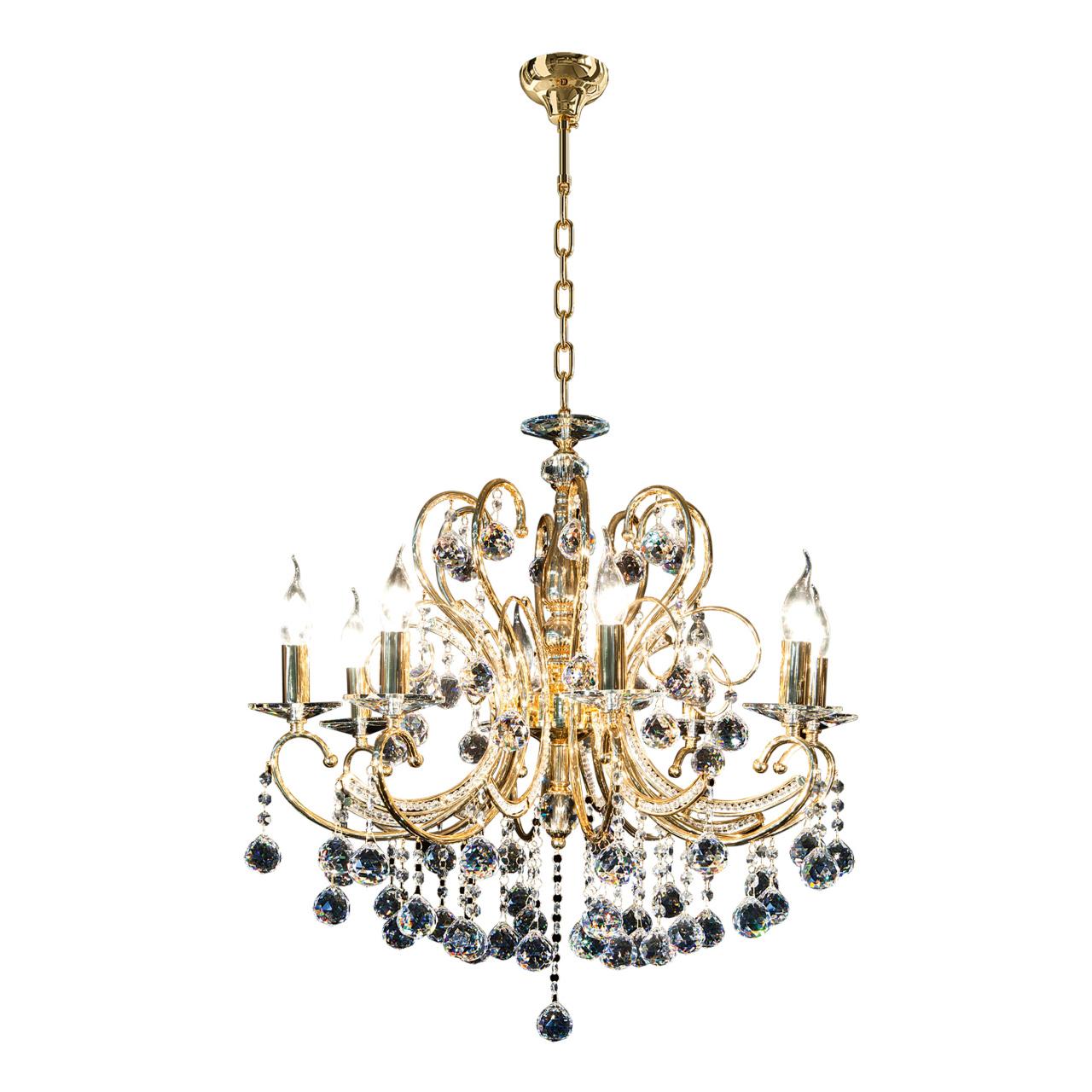 Люстра подвесная Elegante 8х60W E14 24K золото Osgona 708082