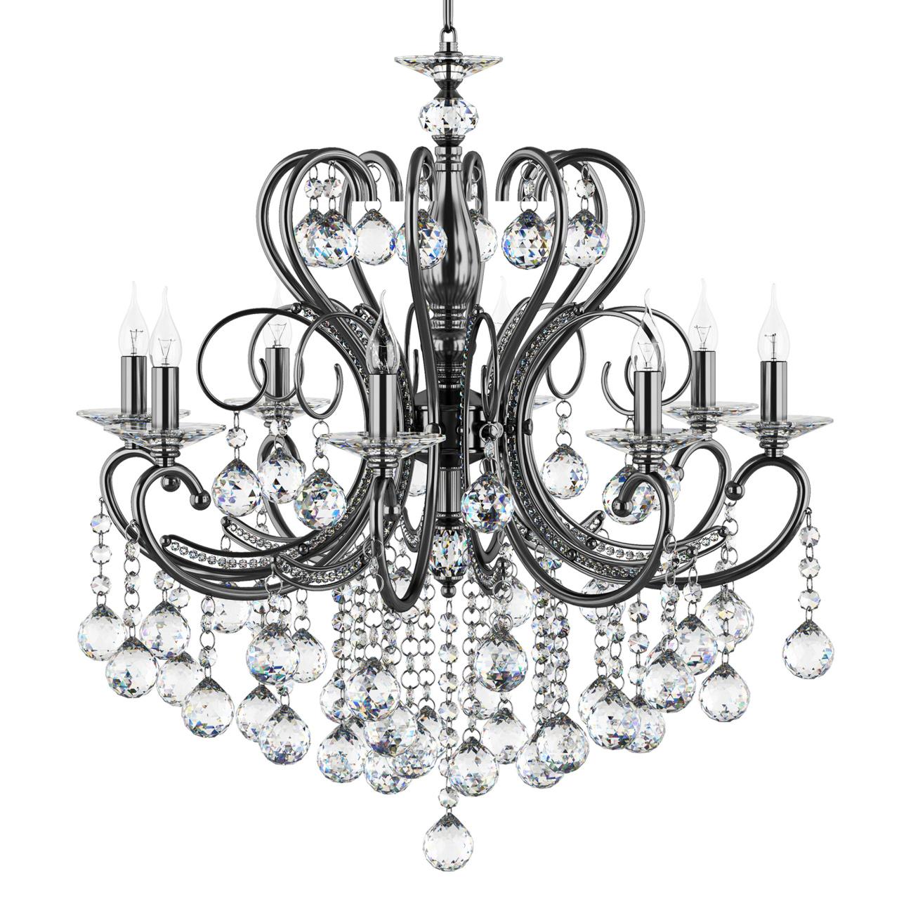 Люстра подвесная Elegante 8х60W E14 черный хром / кристалл дымчатый Osgona 708087