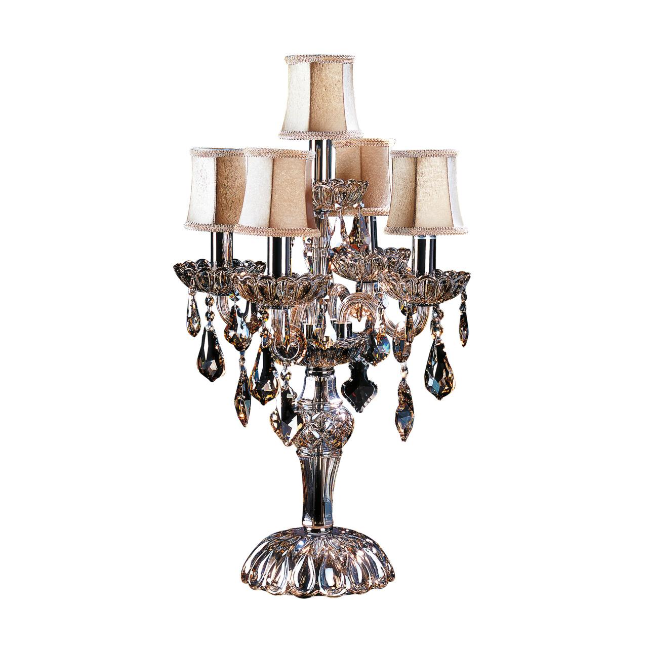 Настольная лампа Nativo 5x40W E14 коньяк / черный хром / бежевый Osgona 715957