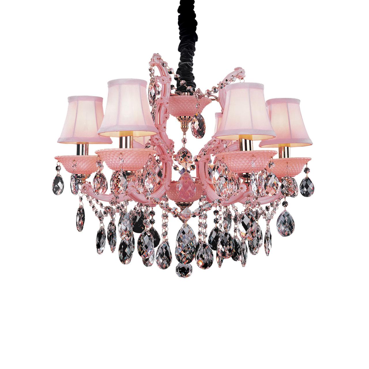 Люстра подвесная Princia 6х40W E14 розовый / прозрачный Osgona 726062