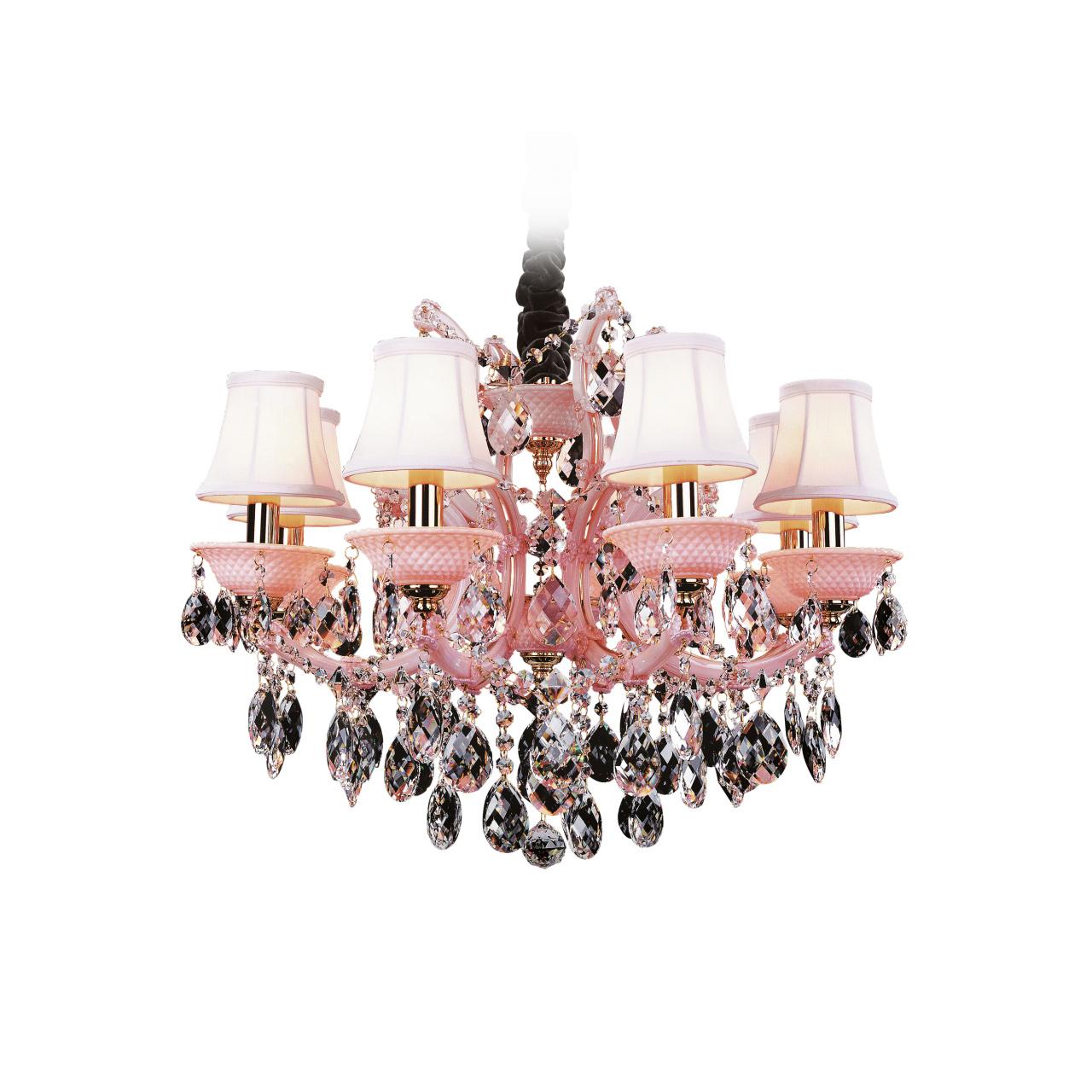 Люстра подвесная Princia 8х40W E14 розовый / прозрачный Osgona 726082