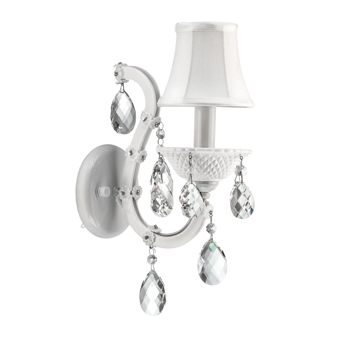 Бра Princia 1х40W E14 (основание, напатронник белый, кристалл прозрачный) Osgona 726611
