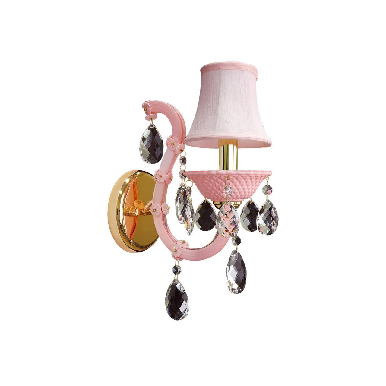 Бра Princia 1х40W E14 K розовый / прозрачный Osgona 726612