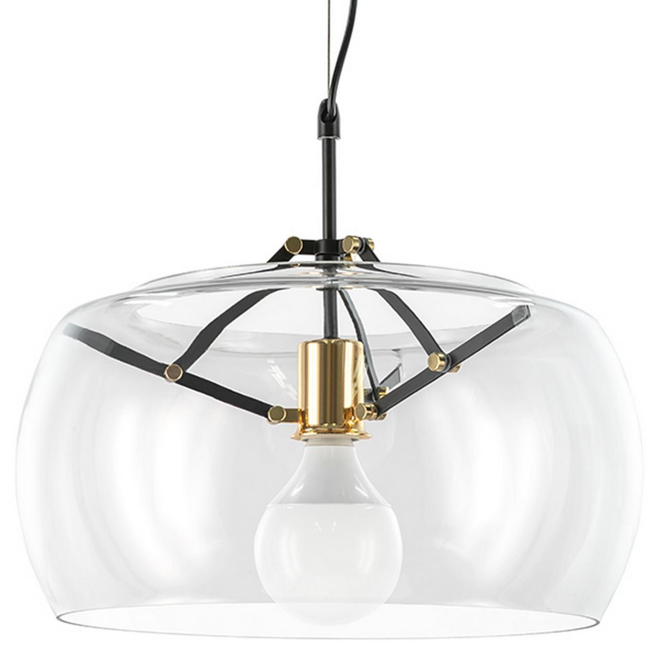 Люстра подвесная Acquario 1Х40W E27 черный матов/золото стекло Lightstar 752010