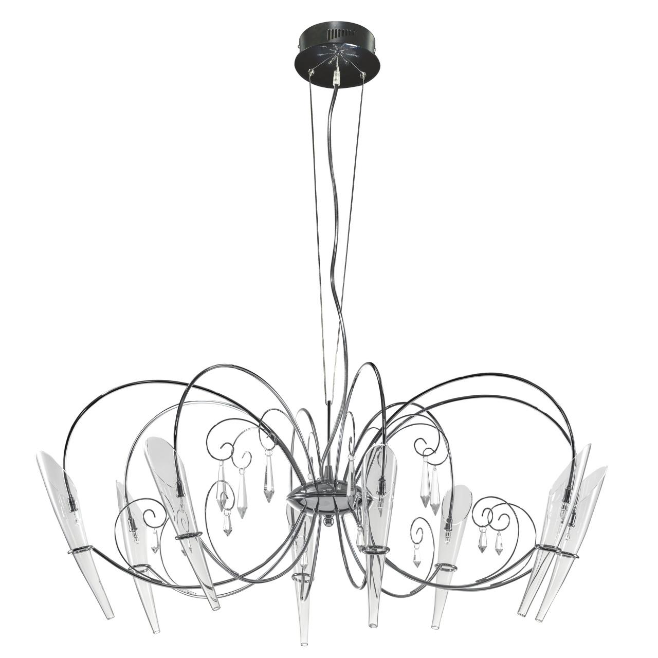 Люстра подвесная Scarabeo 8х35W G4 12V хром хрусталь / стекло Lightstar 755084