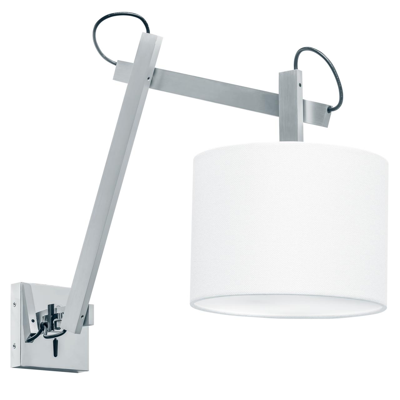 Бра MECCANO 1х60W E27 хром / белый ткань Lightstar 766619, купить с доставкой в интернет-магазине, Санкт-Петербург, бесплатная доставка по СПб