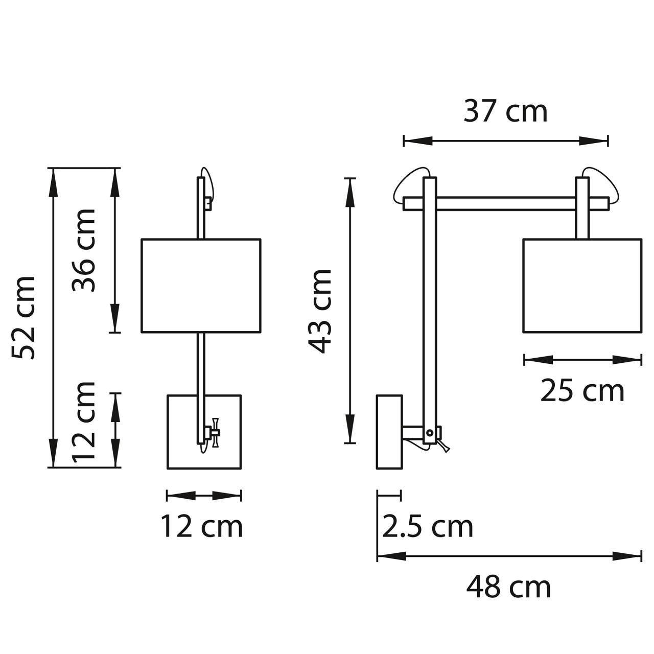 Бра MECCANO 1х60W E27 хром / белый ткань Lightstar 766619