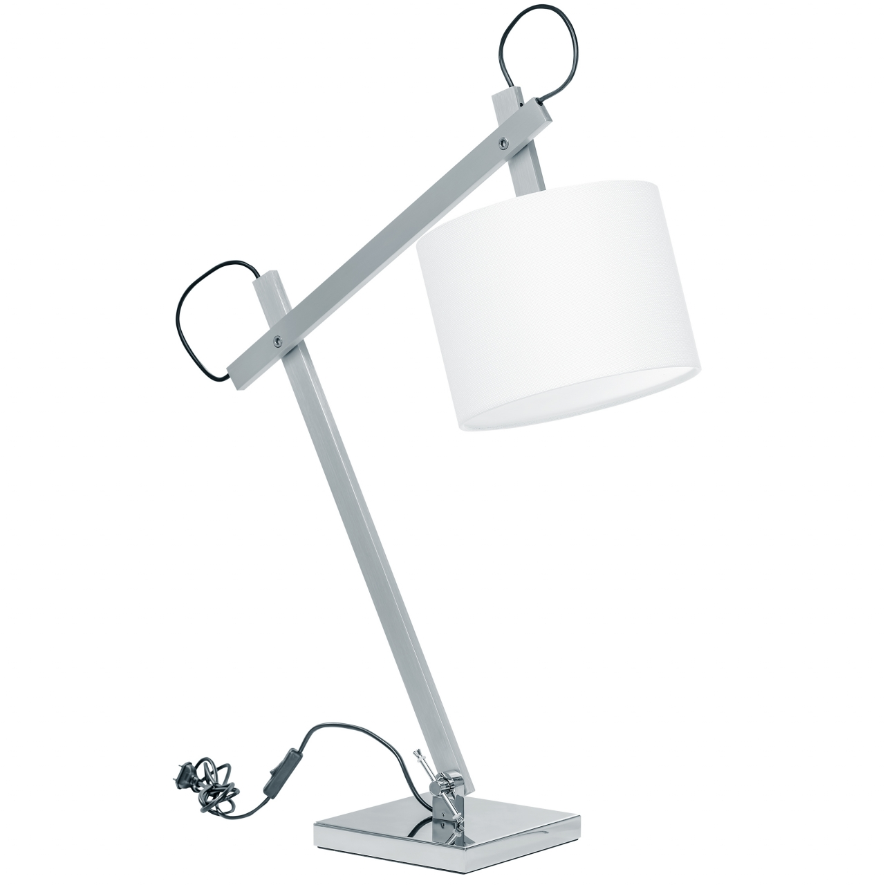Лампа настольная MECCANO 1х60W E27 хром / белый ткань Lightstar 766919