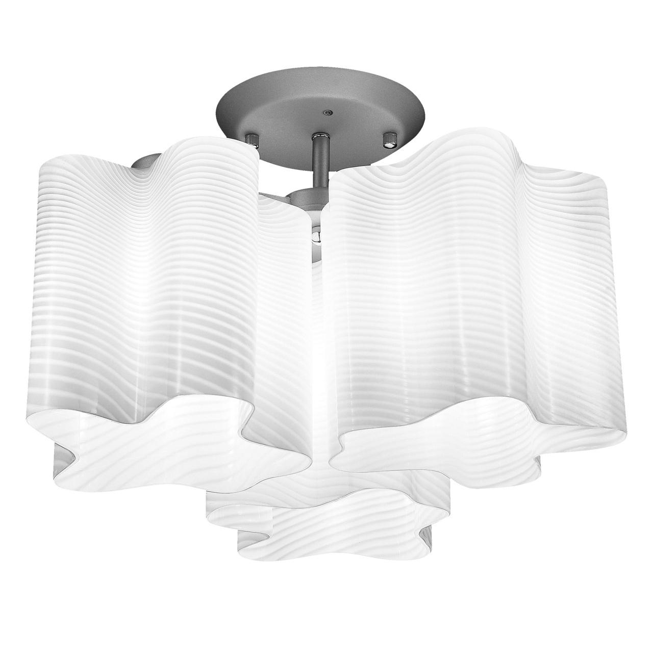 Люстра потолочная Nubi Ondoso 3х40W E27 хром / белый полосатый Lightstar 802031