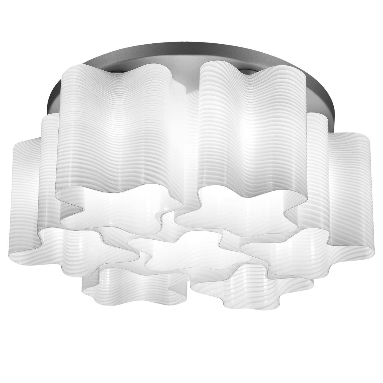 Люстра потолочная Nubi Ondoso 7х40W E27 хром / белый полосатый Lightstar 802071