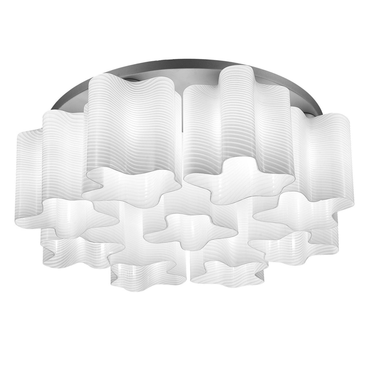 Люстра потолочная Nubi Ondoso 9х40W E27 белый / хром полосатый Lightstar 802091