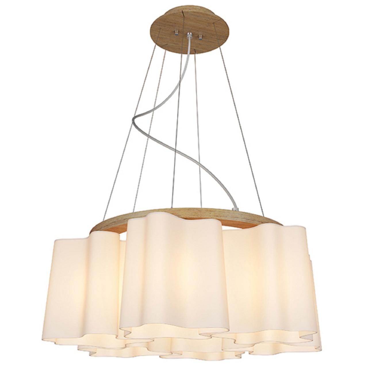Люстра подвесная NUBI Legno 6x40W E27 светлое дерево / белый Lightstar 802165
