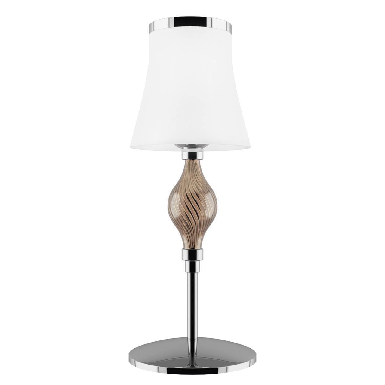 Настольная лампа Escica 1х40W E14 белый / коньяк / хром Lightstar 806910