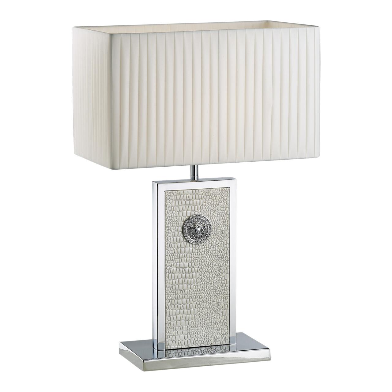 Настольная лампа Faraone 1х60W E27 кожа / белый / хром Lightstar 870936