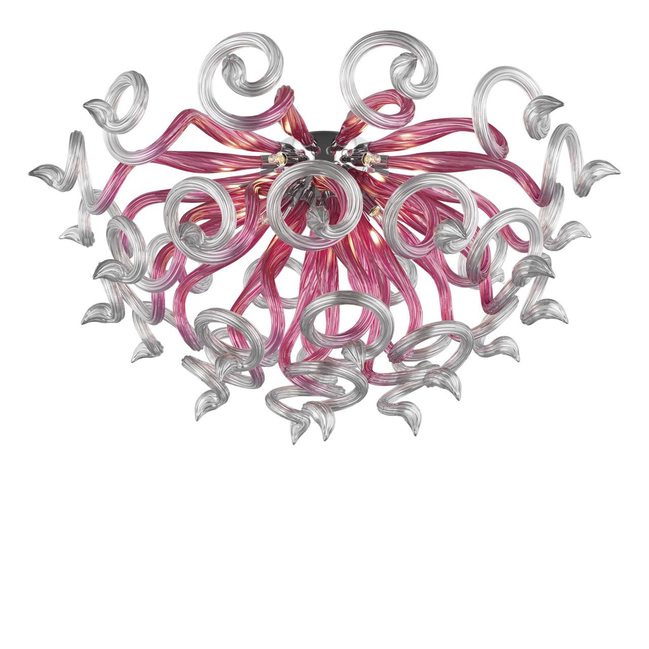 Люстра потолочная Medusa 9x40W G9 розовый / прозрачный Lightstar 890092