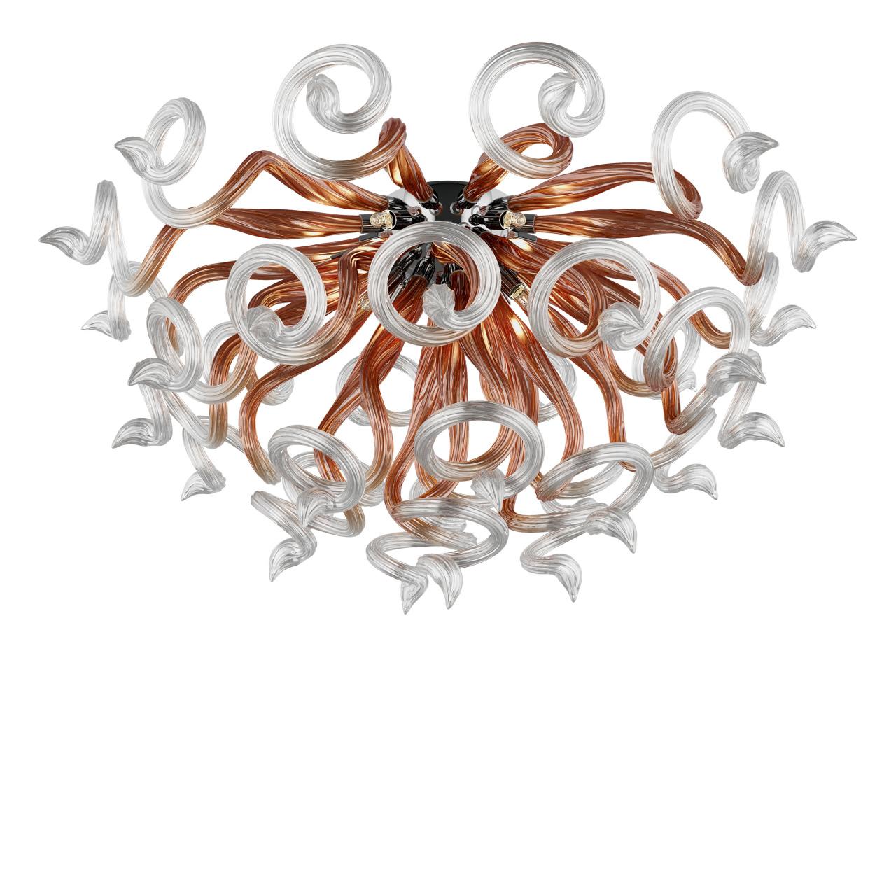 Люстра потолочная Medusa 9x40W G9 прозрачный / янтарь+прозрачный Lightstar 890094