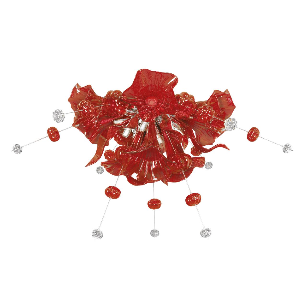 Люстра потолочная Celesta 12х6W (Led) G9 красный Lightstar 893022