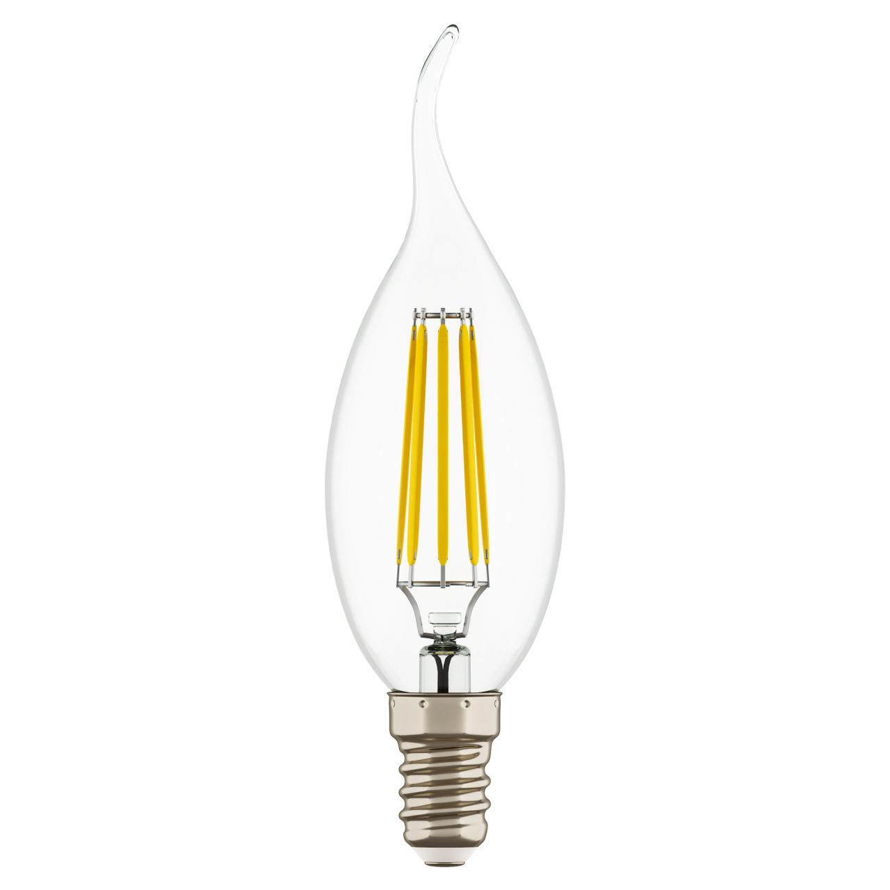 Лампа LED Filament 220V CA35 E14 6W=65W 400-430LM 360G CL 4000K 30000H Lightstar 933604